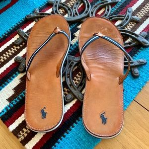 Ralph Lauren Sandals Leather & Navy 9 1/2